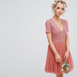 MAYA Petite Plunge Neck Embellished Tulle Dress